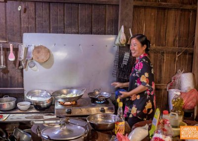 Inside the kitchen of a local Cambodian restaurant